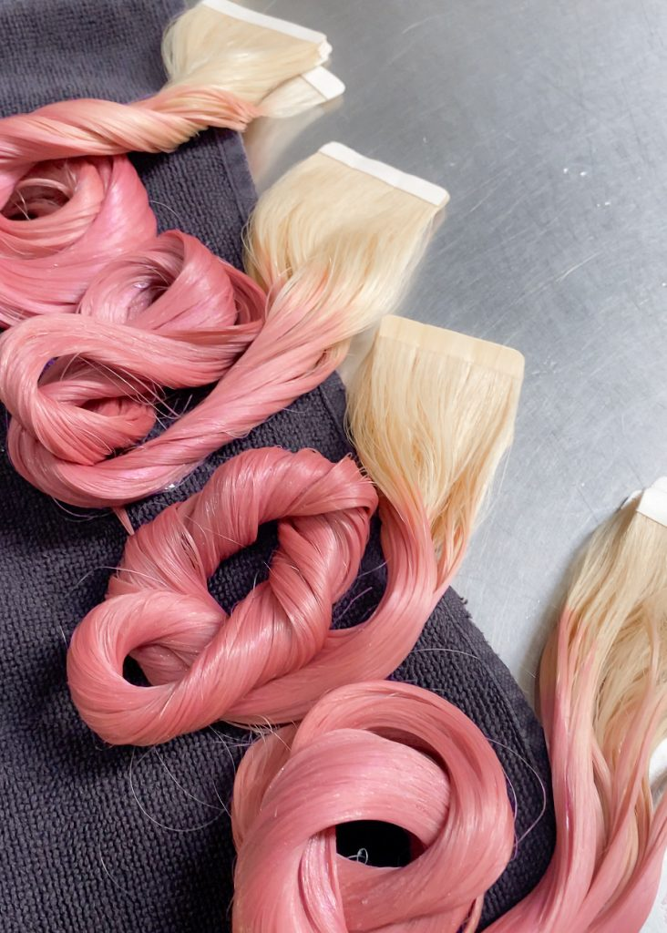 Hair, Tape Extension, Hair Extension, Pink Hair, During Photo